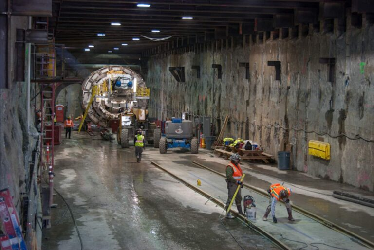 TBM in Launch Box under roadway and freeway ramp