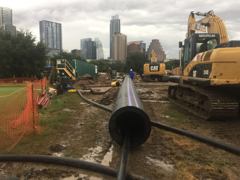 HDPE pipe ready for HDD installation reclaimed water system, Austin TX
