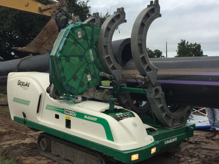 HDPE Pipe Fusing Set-Up for HDD installation reclaimed water system Austin, TX