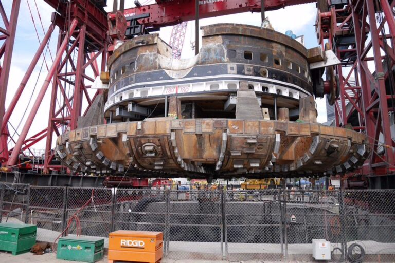 EPB-TBM Cutter Head suspended at top of shaft