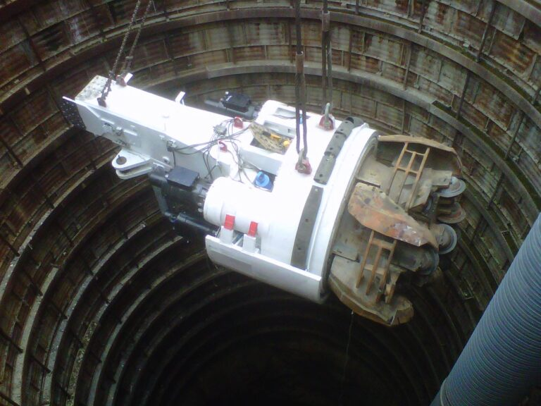 Robbins TBM being lowered into shaft