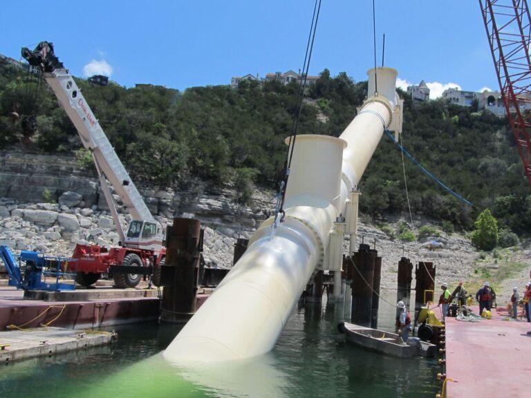 Lowering Intake Pipe into Lake Travis, Austin, TX