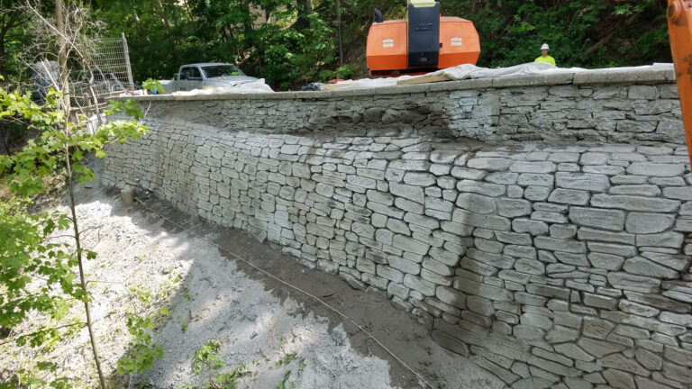 Completed sculpted retaining wall
