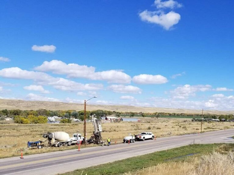 Transit mix grout and drill rig,Glenrock, WY