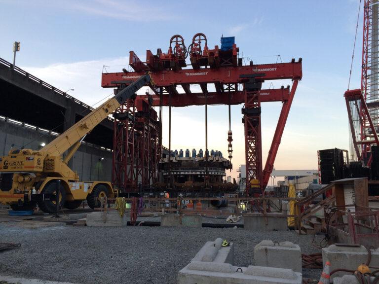 Crane set up above access shaft, SR 99
