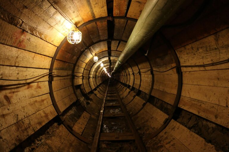 Steel sets and timber lagging support, South Platte Interceptor Tunnel