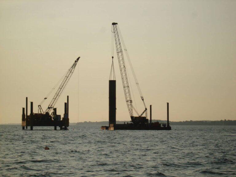 View of barges on Lake Ontario installing intake