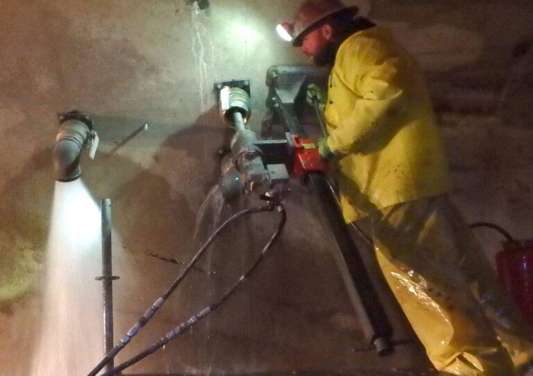 Coring through tunnel liner