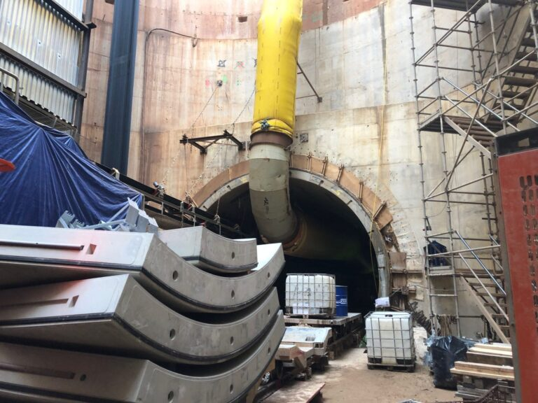 Precast tunnel liner segments in shaft-Northeast Boundary Tunnel