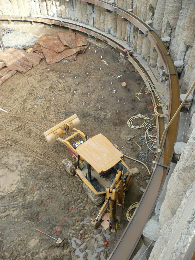 Excavation of Secant Pile Supported Shaft
