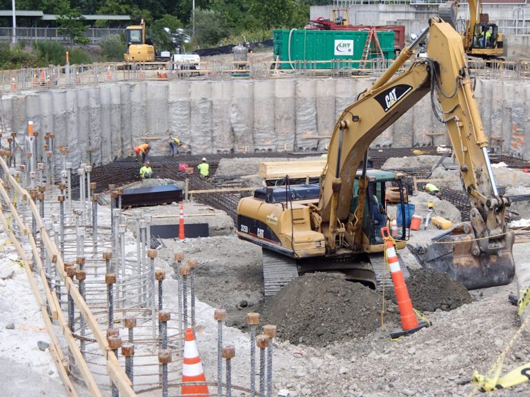 Excavation for new Back Wash Tank , Secant Pile Supported Walls