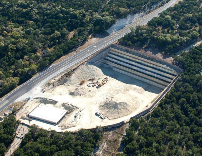 Aerial view of Raw Water Pump Station site under construction