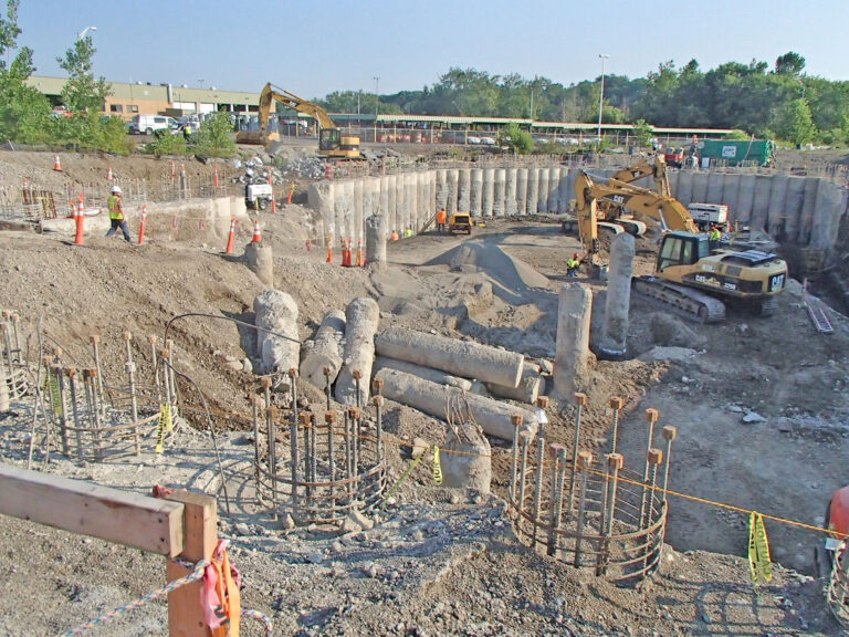 Excavation in the works, view of Secant Pile Supported Walls