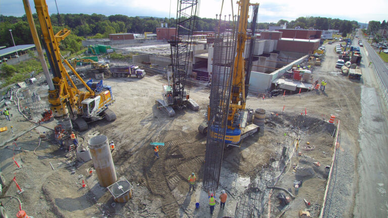 View of caisson drilling and construction, Binghamton-Johnson City, WWTP Restoration