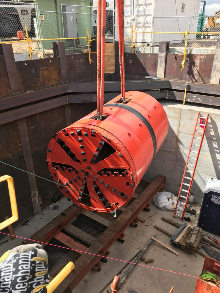 MTBM Lowering in to shaft for launch, Globeville Landing Outfall Tunnels
