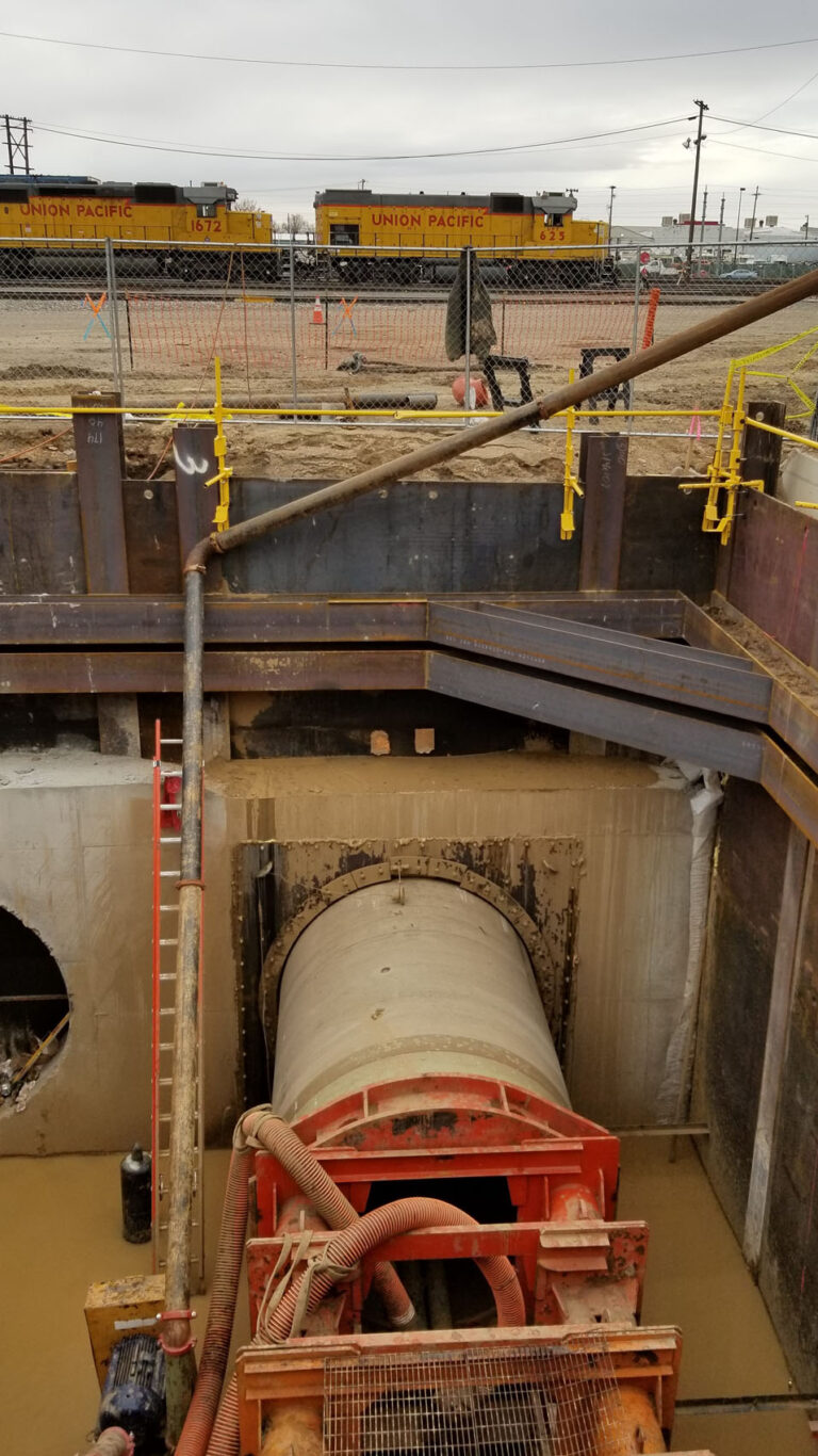 Tunneling beneath 17 active railroad tracks and 2 commuter ralis