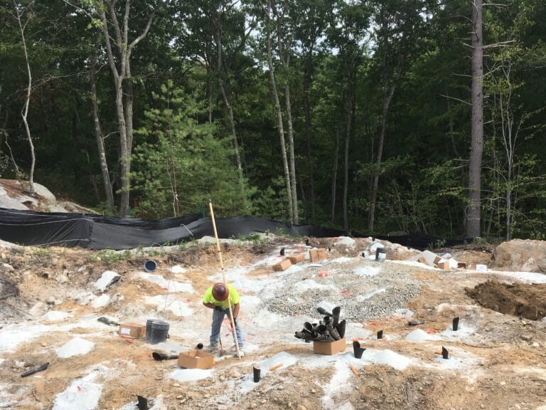 Loading holes with explosives, Maline Creek CSO project, St. Louis, MO