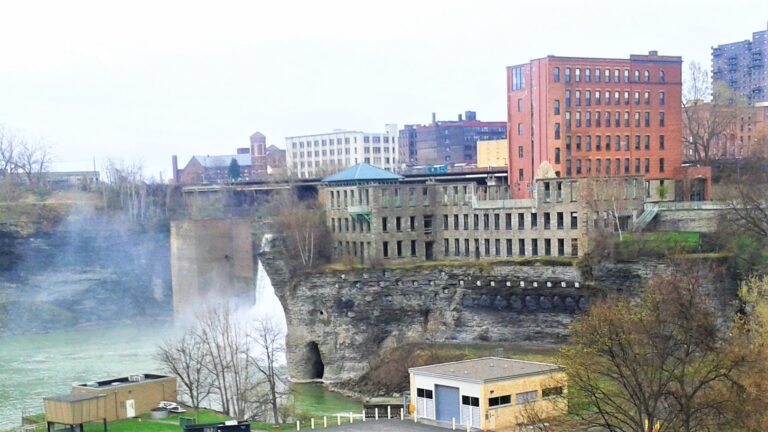 View of High Falls and rock slope beneath the Gorsline Building