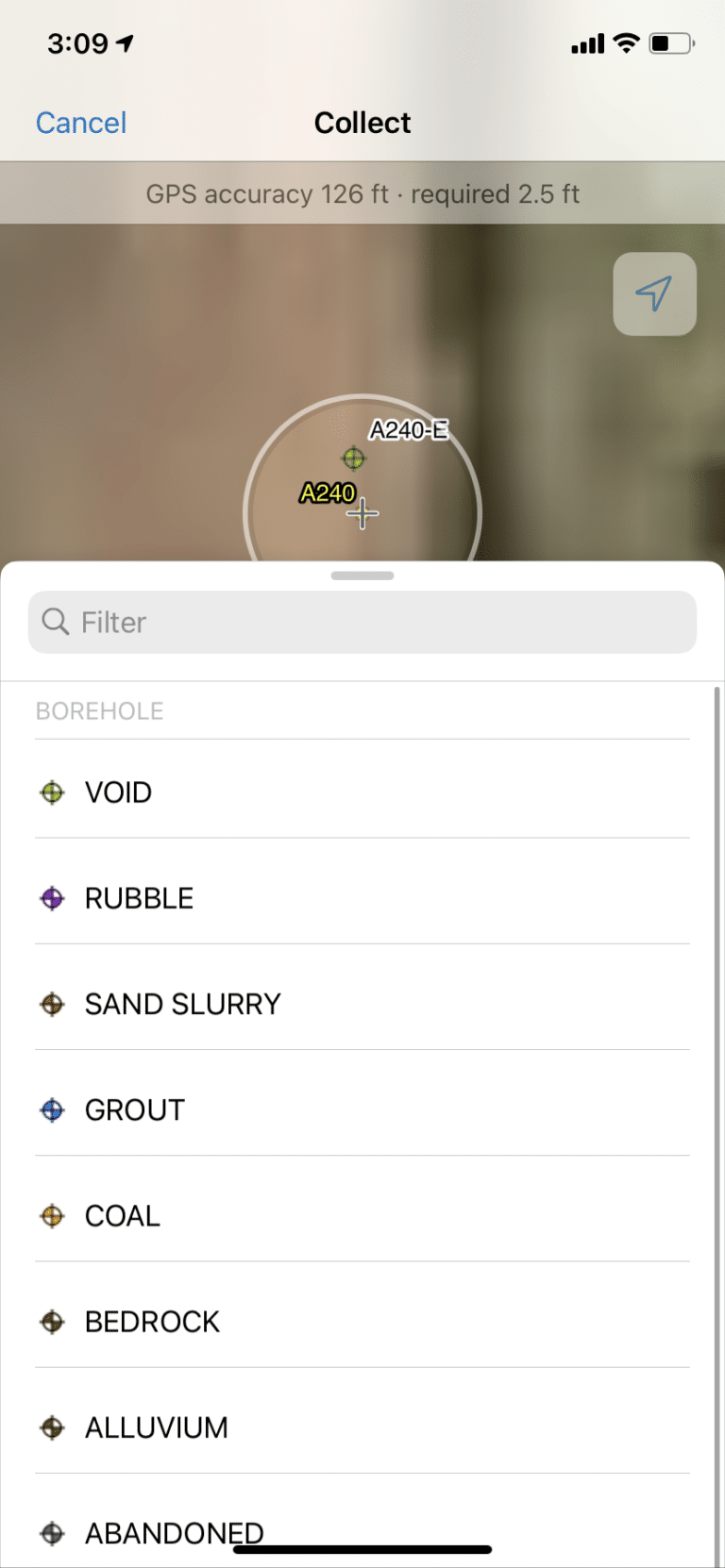 Menu view on mobile device GIS Collector App