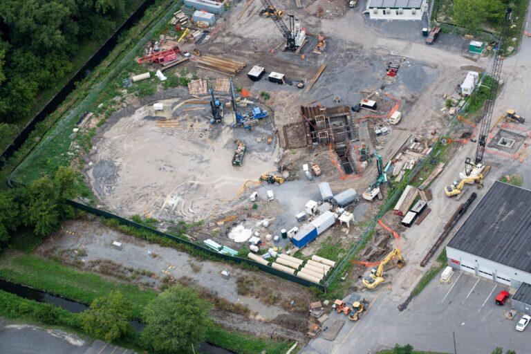 Permeation grouting, aerial view, Lower Harbor Brook CSO Storage