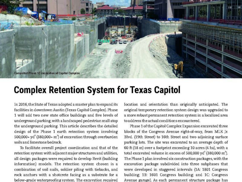 Texas Capitol Complex Featured in Deep Foundations Magazine